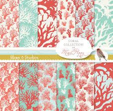 aquatic coral digital paper 12 coral patterns in mint coral
