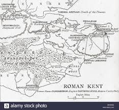Canterbury England Map by Map Of Roman Kent England Stock Photo Royalty Free Image
