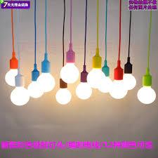 Coloured Cord Pendant Lights 100cm Cord Socket Chandelier L Led Light Fixture Hanging Color
