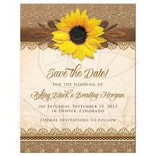 save the date invitation wedding save the date rustic sunflower burlap lace wood