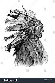 chief native american ink american history stock illustration