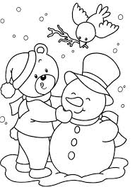 snowman winter free christmas coloring pages kids winter