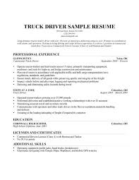 Sample Resume Of Driver Truck Driver Resume Template Ilivearticles Info