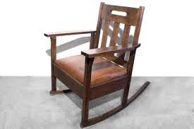 Electric Rocking Chair Stickley Style Rocking Chair With Brown Leather Circa 1925