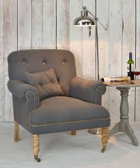 Small Upholstered Bedroom Chair Buy A Timeless Lounge Armchair In Grey Cotton And Wool Fabric