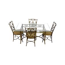 41 off glass and gold wrought iron dining set tables