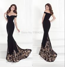long black evening dresses appliques mermaid evening gown