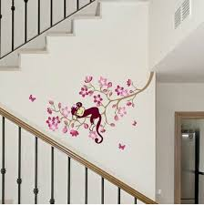walplus wall stickers nursery sleeping monkey pink flower tree walplus wall stickers nursery sleeping monkey pink flower tree mural vinyl home decoration diy office decor wallpaper children kids room gift multi colour