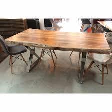 acacia live edge wood table with crossed chrome legs u2013 wazo