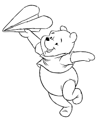 paper airplane coloring page winnie the pooh playing with paper airplane coloring page h m