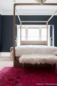 Black Poster Bed Master Bedroom Black Walls White Wood Bead Chandelier Whitewashed