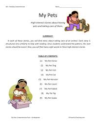 comprehension worksheet my pets collection
