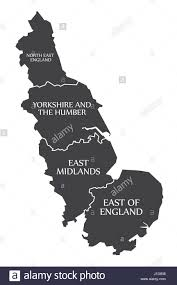 Map Of Yorkshire England by East Coast Of England With North East England Yorkshire East