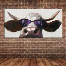 compare prices on wall murals painting online shopping buy low hand painted cool cow oil painting modern abstract cartoon animal canvas art wall mural decoration for