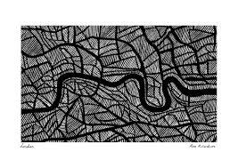 the river thames london sketch by rose richardson map art