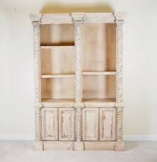 greek revival style distressed wood bookcase ebth