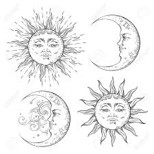 boho flash design sun and crescent moon