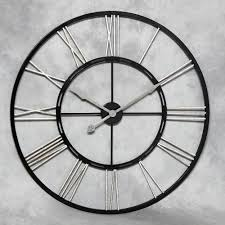extra large metal skeleton wall clock with silver numerals http