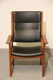 mid century mahogany u0026 black leather armchair by hans j wegner