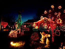 christmas lights yard full of holiday decorations picture free