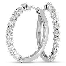 white gold diamond hoop earrings 14k white gold 1 50ct floating diamond hoop earrings