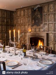 Dining Room With Fireplace by Original Jacobean Wall Panels In Dining Room With Open Fireplace