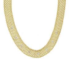 gold necklace fine jewelry images Diamond mesh 18k yellow gold necklace by michael raven raven jpg