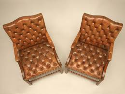 Chesterfield Armchairs For Sale Pair Of English Button Tufted Leather Vintage Chesterfield