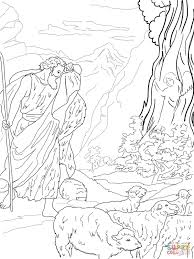 j coloring pages god speaks to moses from the burning bush coloring page free