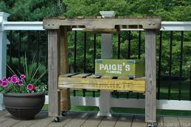 Patio Furniture Out Of Pallets by How To Make A Workbench Out Of Pallets Little House Of Four