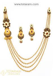 gold antique necklace sets images 22k gold antique long necklace drop earrings set with stones jpg