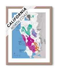 Map Of Napa Valley Regional Wine Ava Map Of North Coast Ca Usa Wine Posters