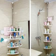 Telescopic Bathroom Shelves Adjustable Telescopic Bathroom Corner Shower Shelf Rack 4 Tier