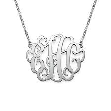 sterling monogram necklace xl monogram necklace in sterling silver mynamenecklace