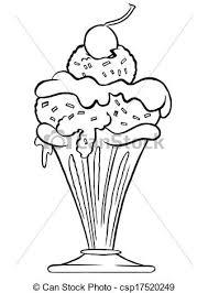 ice cream sundae outline cartoon of ice cream sundae in