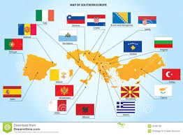 European Countries Map Flags And Map Of Southern Europe Countries Stock Photo Image