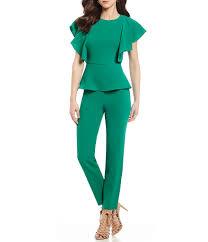 green jumpsuits green jumpsuits antonio melani munna flutter sleeve jumpsuit