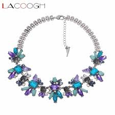 blue crystal statement necklace images Lacoogh luxury shiny purple blue crystal flower bib statement jpg