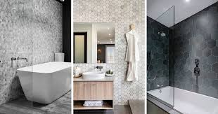 pictures of bathroom tiles ideas bathroom tile ideas grey hexagon tiles contemporist