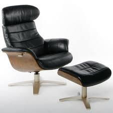 Black Leather Recliner Black Leather Recliner And Foot Stool