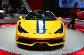 ferrari yellow 458 ferrari 458 speciale aperta front at the 2014 paris motor show