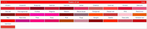 shades of red list shades of red list of textile colors shades of red shades of