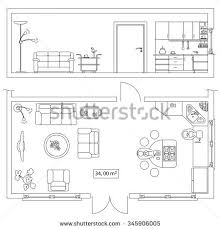 set design floor plan architectural set furniture objects building plan stock vector