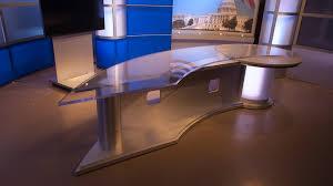 sharp news desk tv set designs