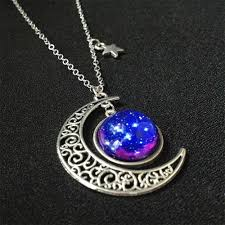 blue moon necklace images Moon galaxy necklace crescent moon necklace mixi handmade jpg