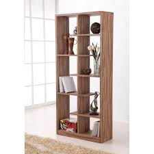 Narrow Room Divider Walnut Wooden Narrow Bookcase With Tiered Open Shelves As Small