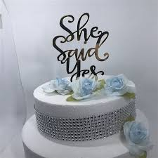 s cake topper gold silver glitter script she said yes wedding cake topper bridal