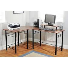 L Shaped Desk Black by Black Steel L Shaped Desk With Brown Wooden Counter Top Also Shelf