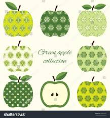 collection green ornamental apples stock vector 158961935