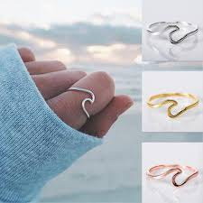 simple metal rings images Wave rings for women simple metal surfer surf rings ocean wire jpg